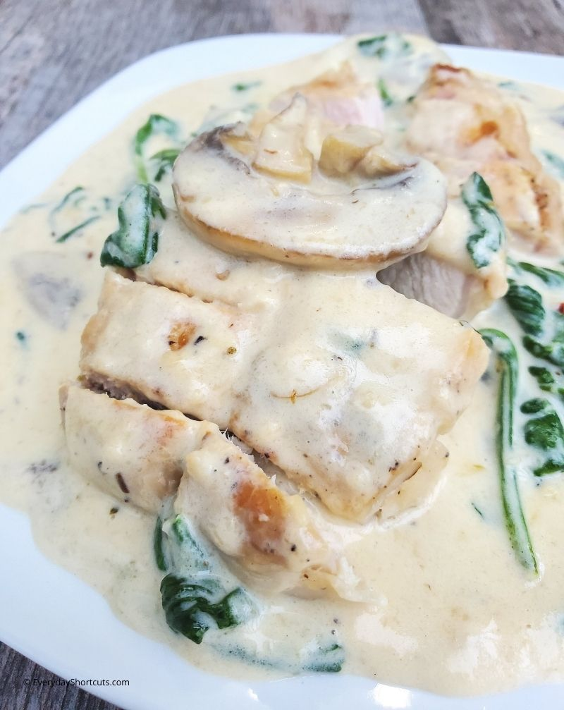 the best Creamy Mushroom & Spinach Pork Chops recipe