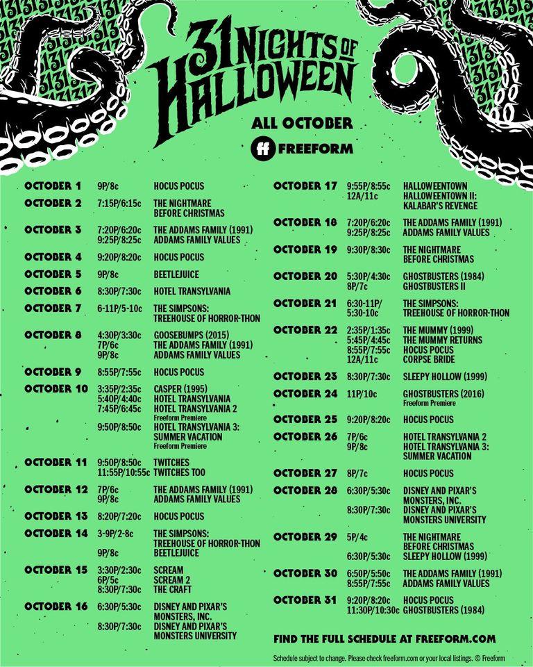 Freeform 31 Nights of Halloween 2020 Schedule