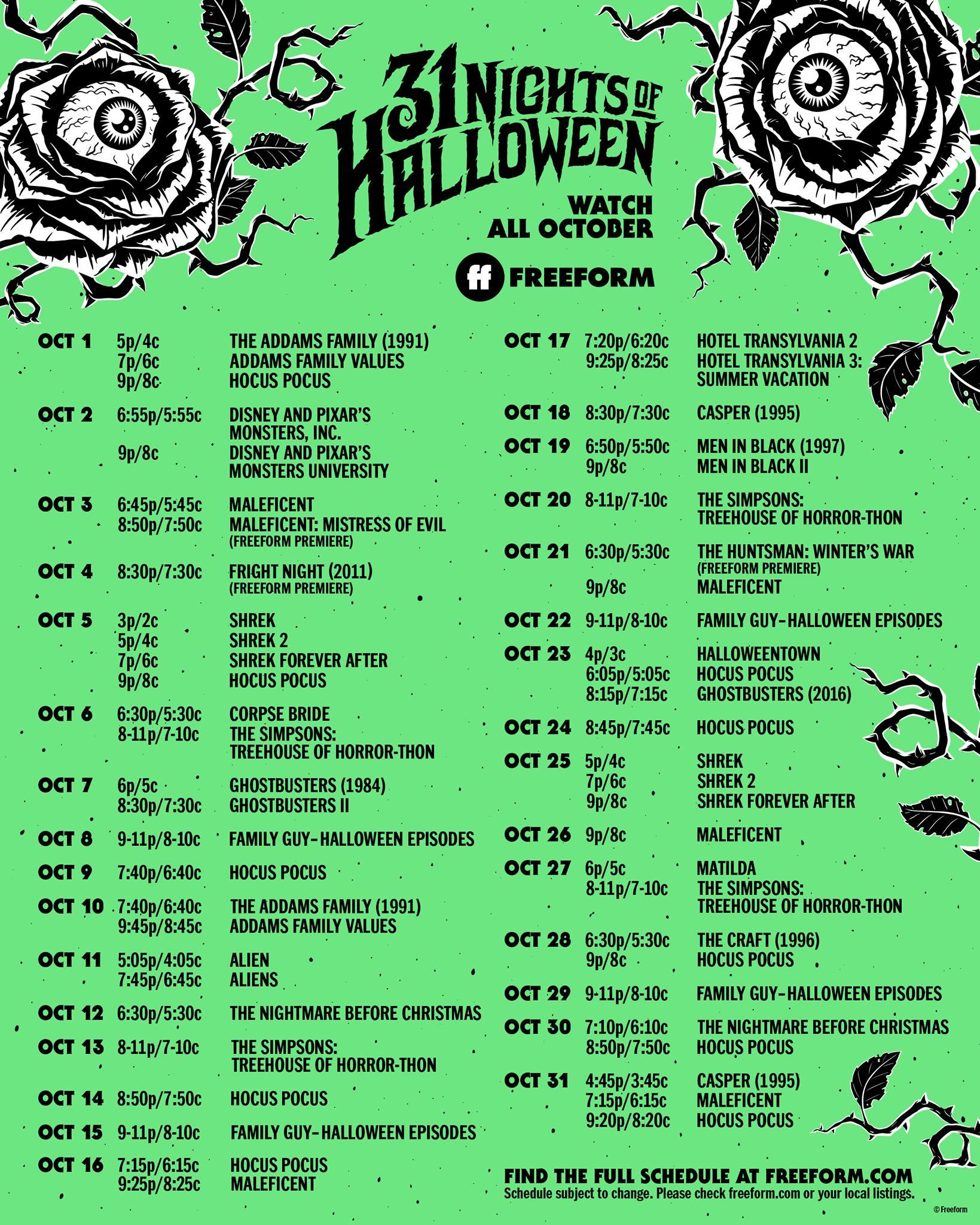 Freeform 31 Nights of Halloween 2021 Schedule