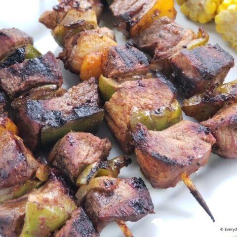 Grilled Teriyaki Steak Skewers
