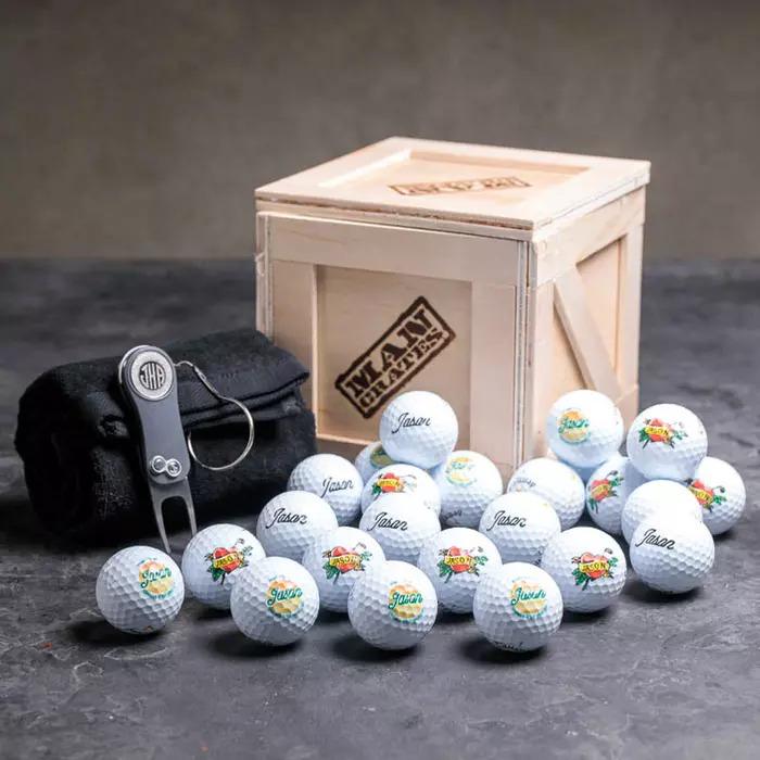Personalized Golf Ball Mini Man Crates Image