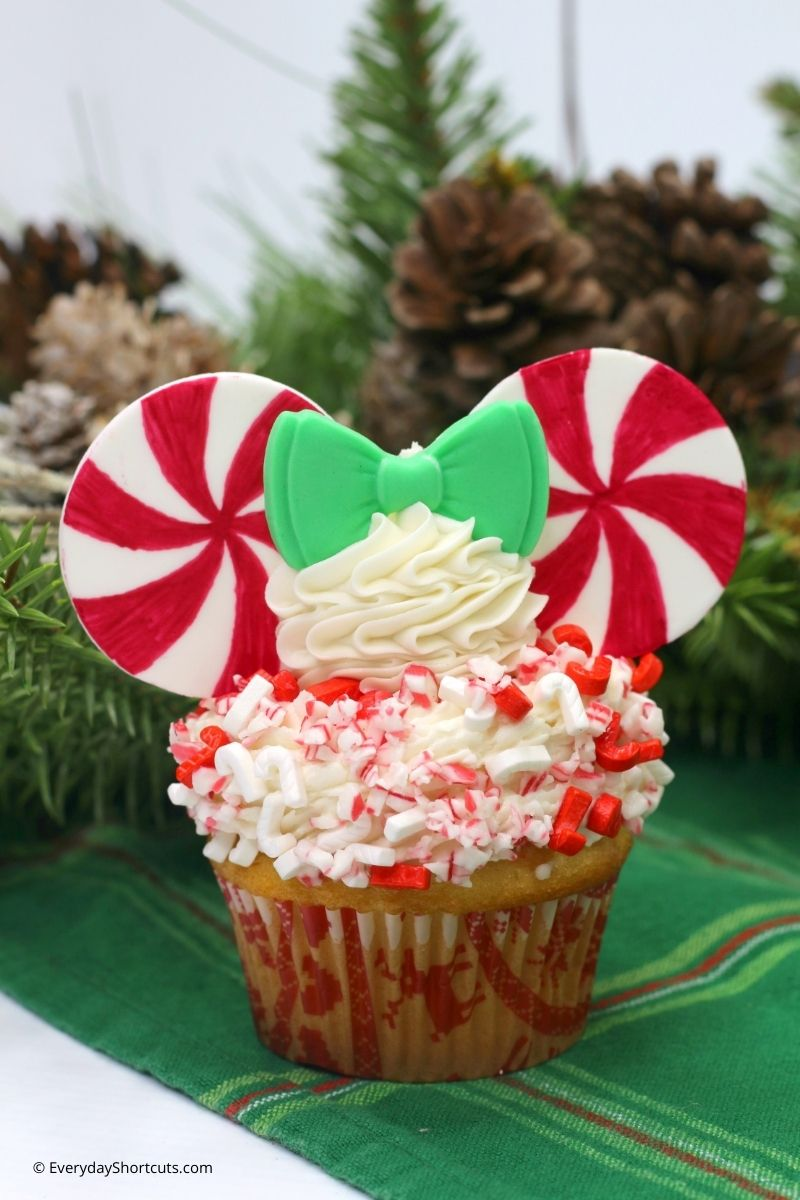 peppermint pinwheel minnie mouse cupcakes