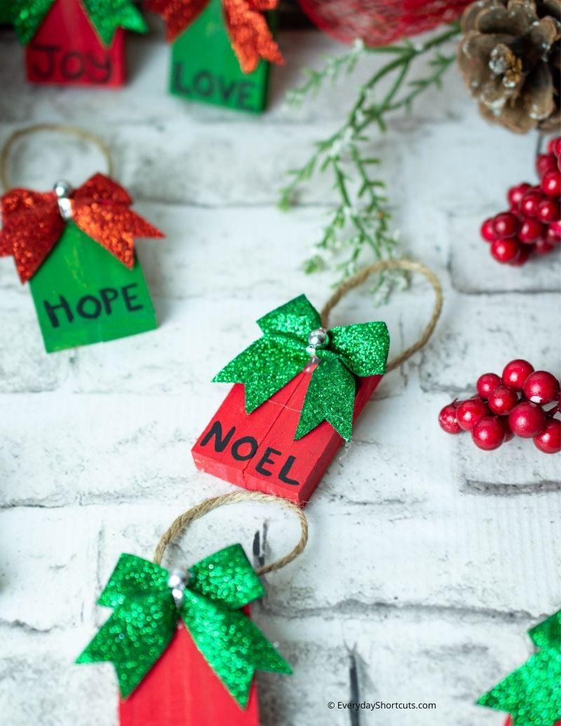 DIY Dollar Tree Tumbling Tower Christmas Ornaments