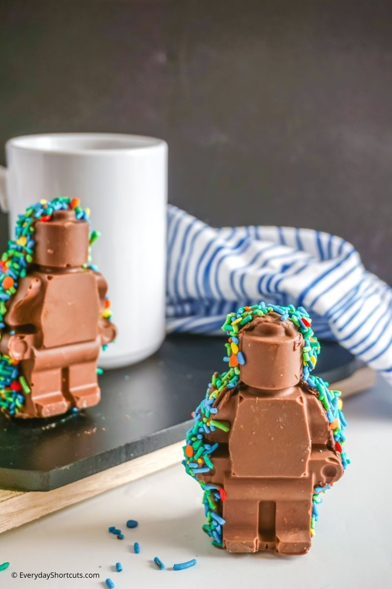 lego minifigure hot chocolate bombs