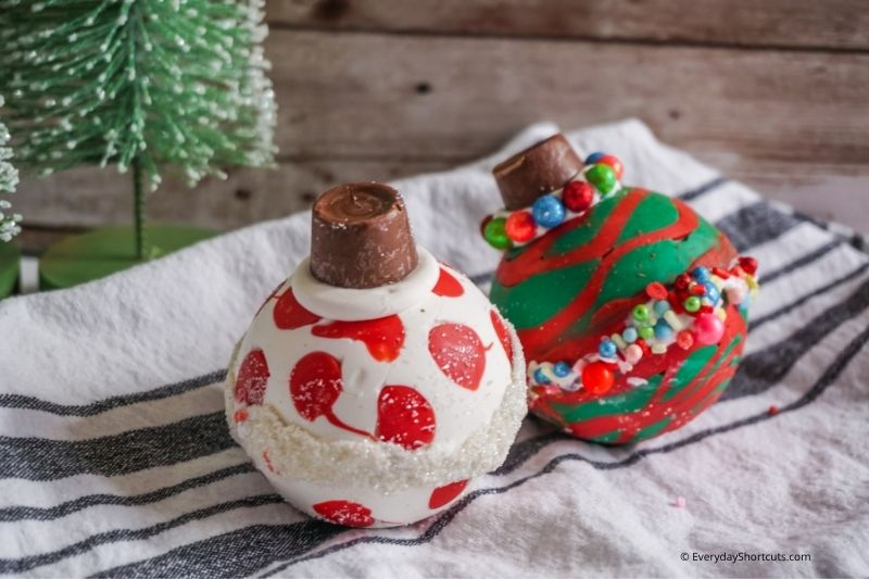 how to make Christmas Ornament Hot Cocoa Bombs