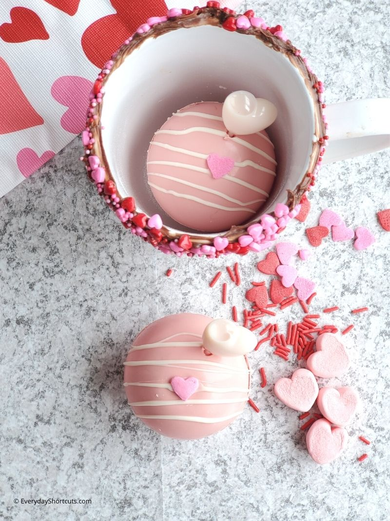 how to make Baileys Strawberries and Cream Hot Cocoa Bombs