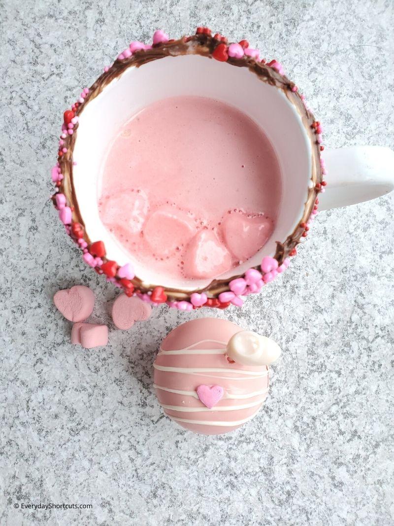 Baileys Strawberries and Cream Hot Cocoa Bombs