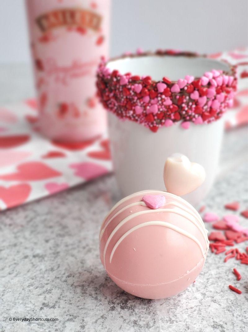 Baileys Strawberries and Cream Valentine Hot Cocoa Bombs