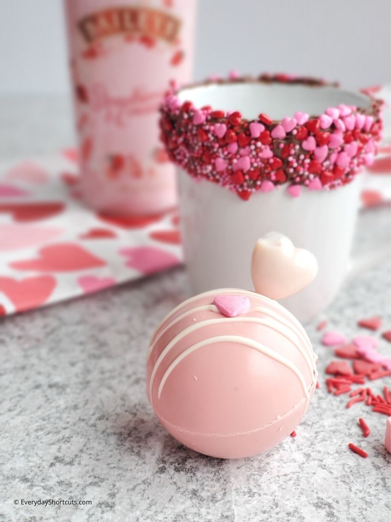 strawberries and cream hot cocoa bombs