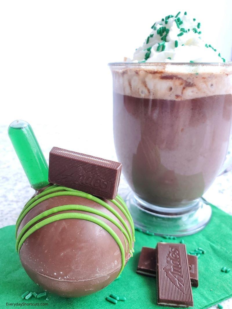 Boozy Mint Hot Chocolate Bombs