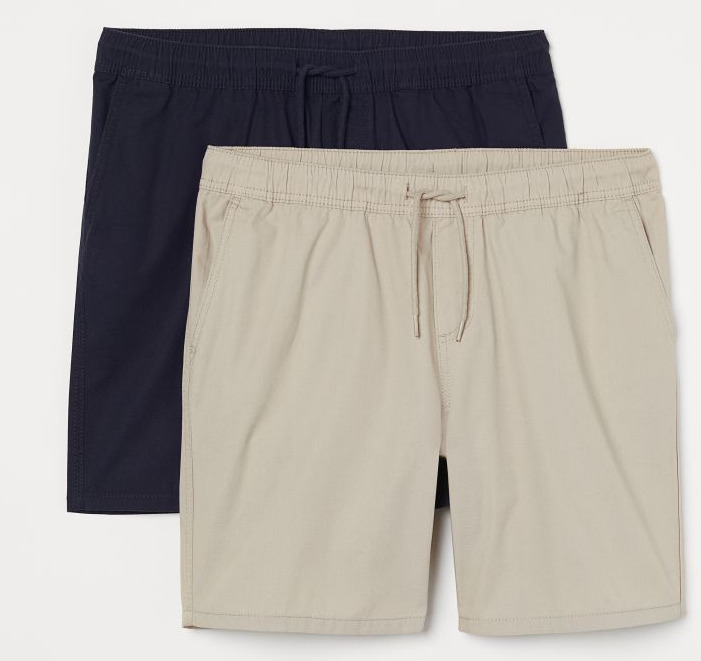 H&M 2 Pack Regular Fit Shorts Navy Blue/Light Beige Image