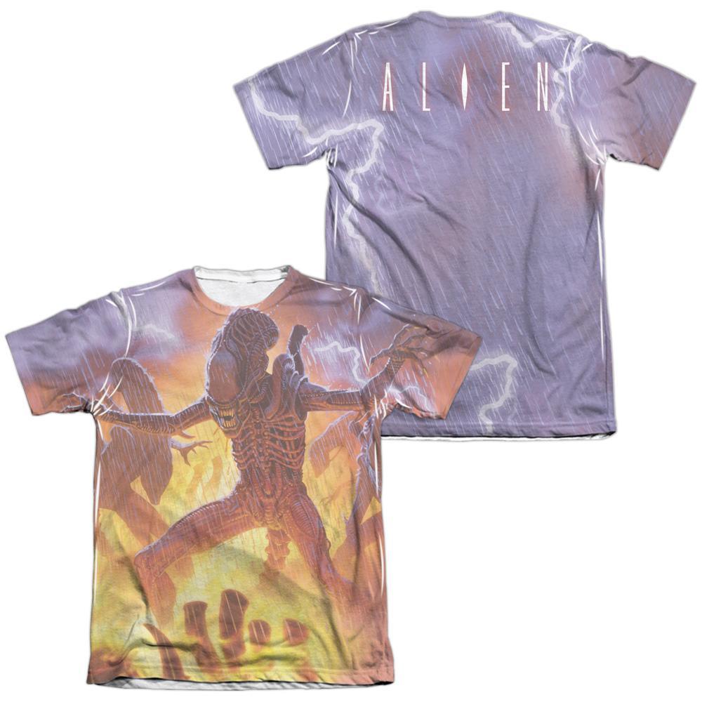 Pop Culture Apparel Alien Lightning and Fire Shirt Image