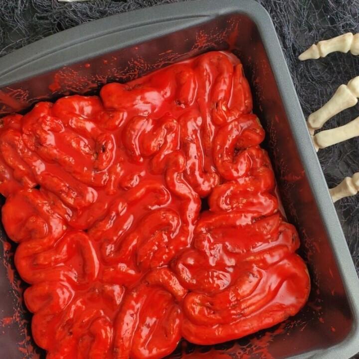 Bloody Intestines Cinnamon Rolls for Halloween