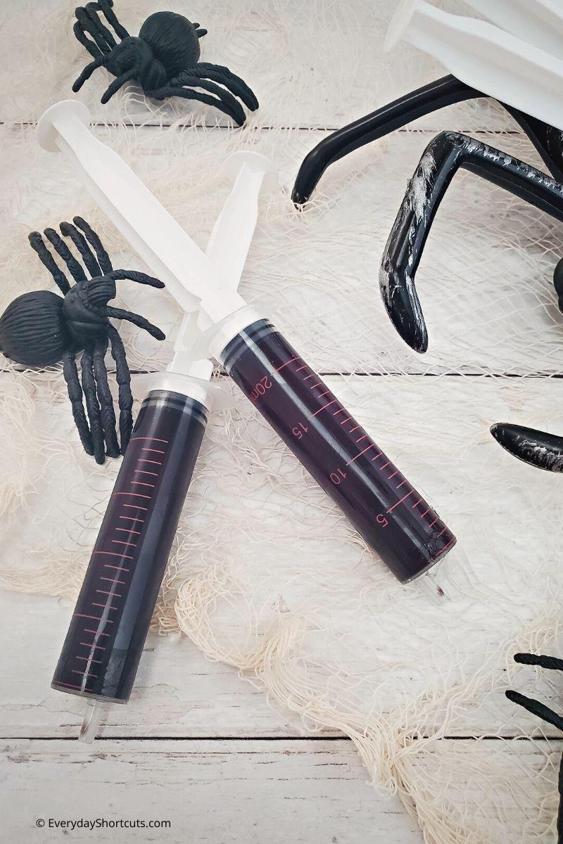 Swamp Sludge Jello Syringes for Halloween
