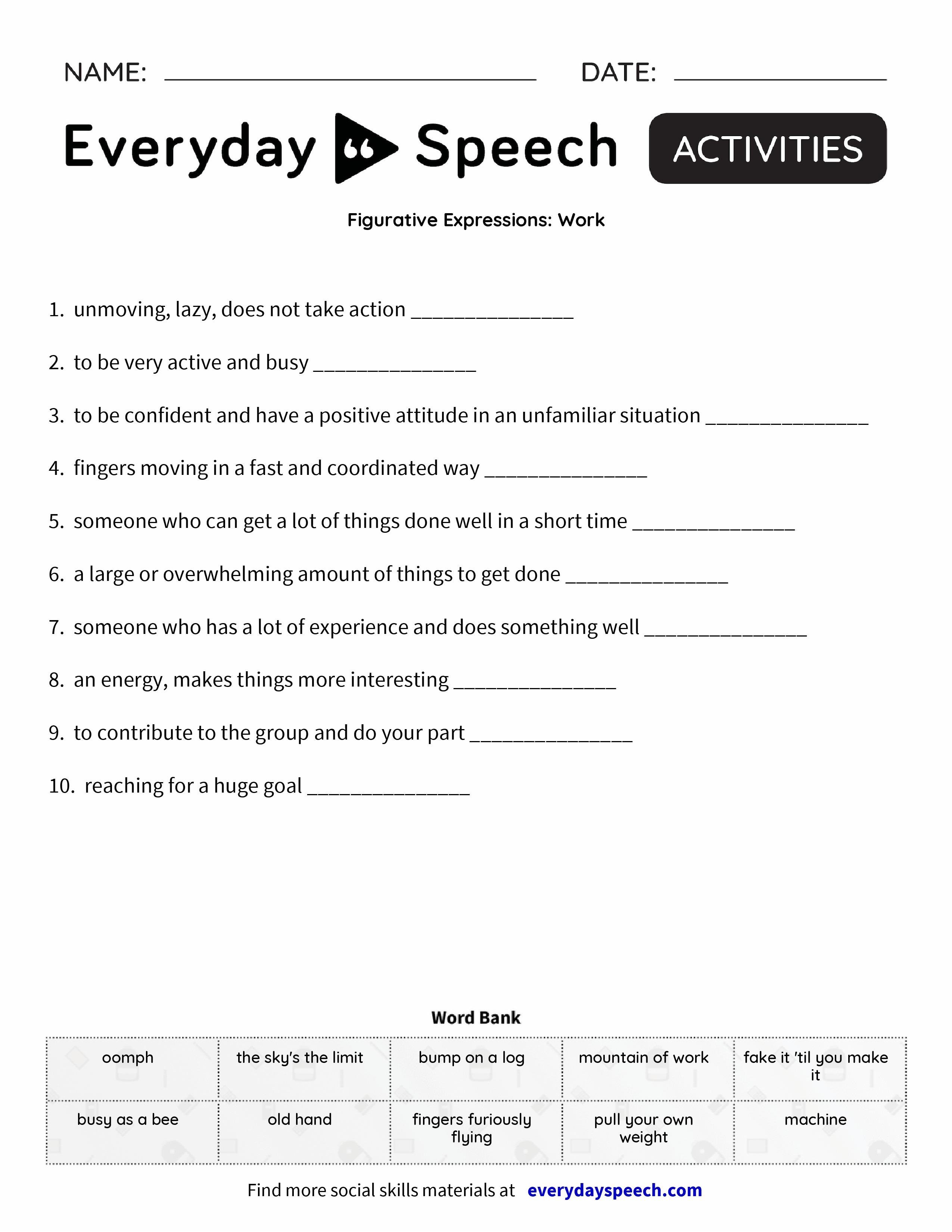 Figur Tive Expressi S W K Everyd Y Speech Everyd Y Speech