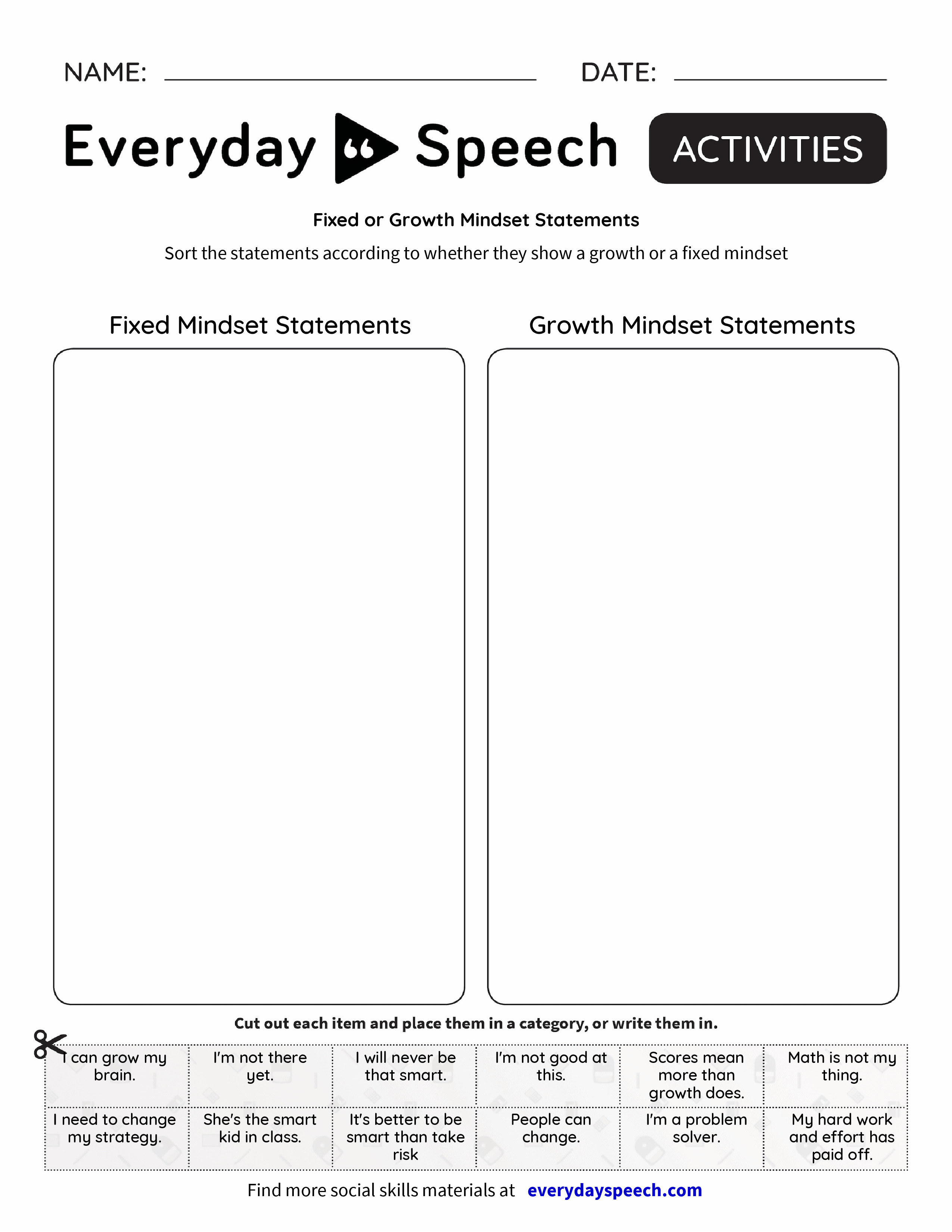 Fixed Or Growth Mindset Statements Everyday Speech