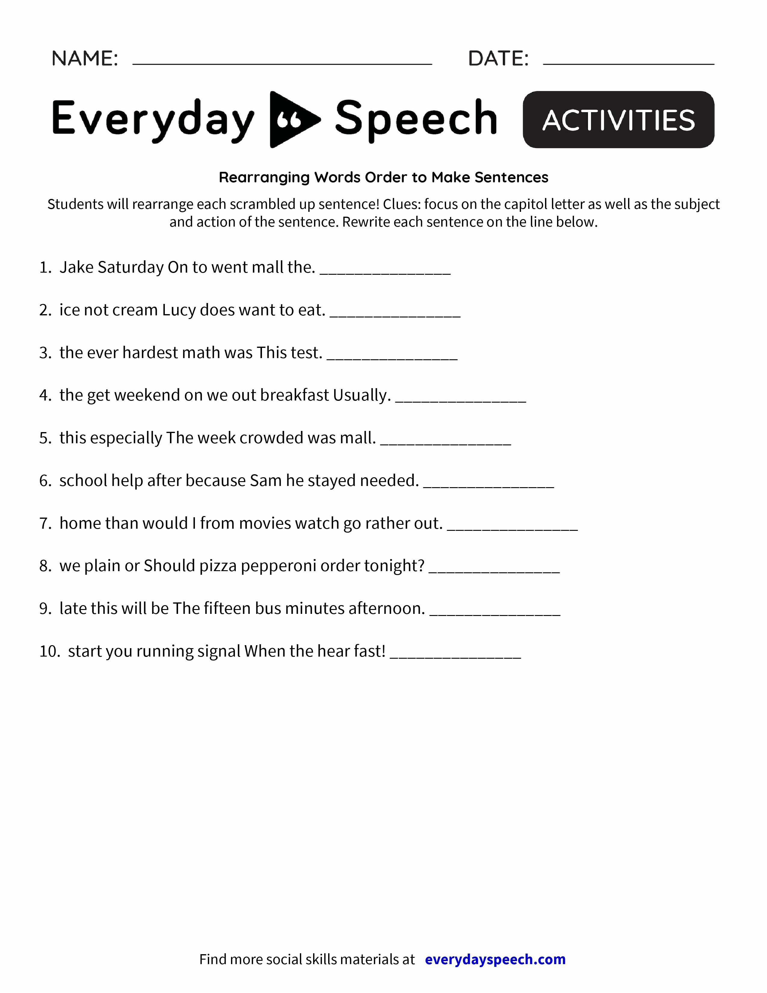 Re Rr Ng G W Ds Der To M Ke Sentences Everyd Y Speech