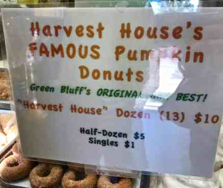 image of harvest house green bluff pumpkin donuts price