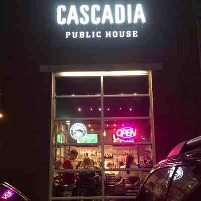 Cascadia Public House at night