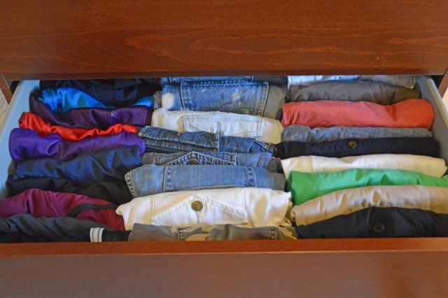 Shorts drawer: Shoot, now I see several pairs of shorts facing different directions. New rule: everything must face the front! Guess what I'm running upstairs to fix right now….