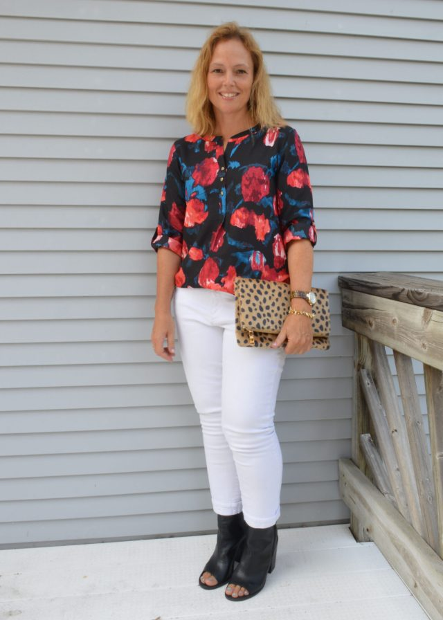 eb46477ce7c54 Source Info — Floral top — Ivanka Trump from T.J. Maxx, $29.99 (similar);  White Jeans: Catherine Boyfriend Jeans, $84 (Kut from the Kloth); Cheetah  Clutch: ...