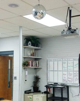 disco ball in classroom