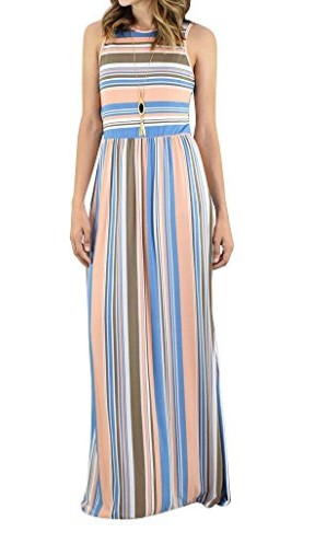 Rainbow Stripe Crew Neck Maxi Dress