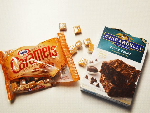Ingredients for brownies with salted caramel sauce