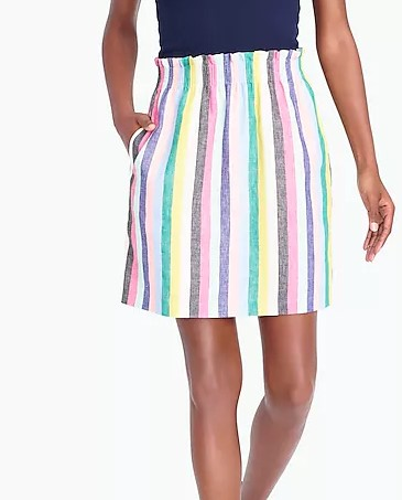 JCrew Factory Mixed Stripe Sidewalk Linen Cotton Skirt