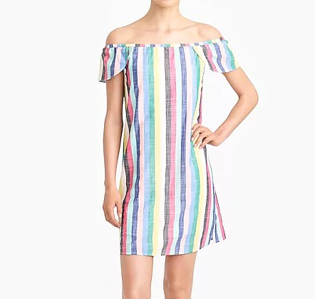 JCrew Factory Striped Off the Shoulder Dress