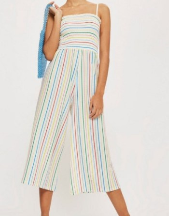Topshop Rainbow Striped Jumpsuit