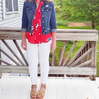 red white and blue with denim jacket