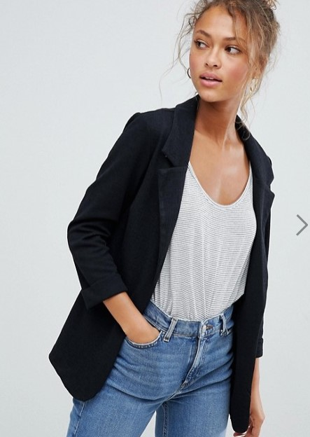 asos black stretch blazer