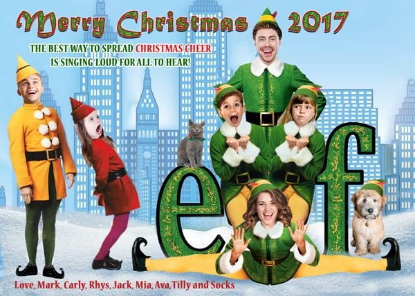 elf themed family christmas holiday card
