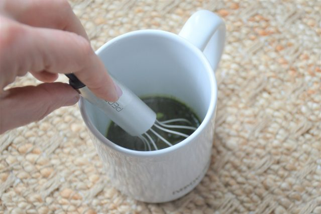 Whisk water and matcha together directly in the mug to save time and dishes