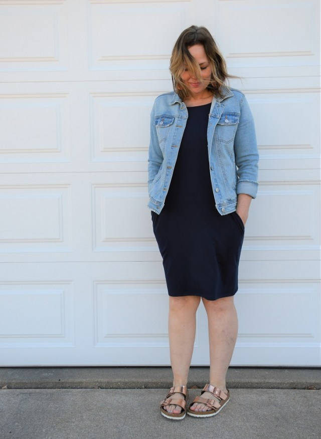 Turquoise & Tangerine t-shirt dress with denim jacket and Birkenstocks casual outfit