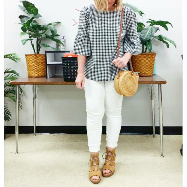 Teacher outfit featuring gingham popover top with white jeans and sandals