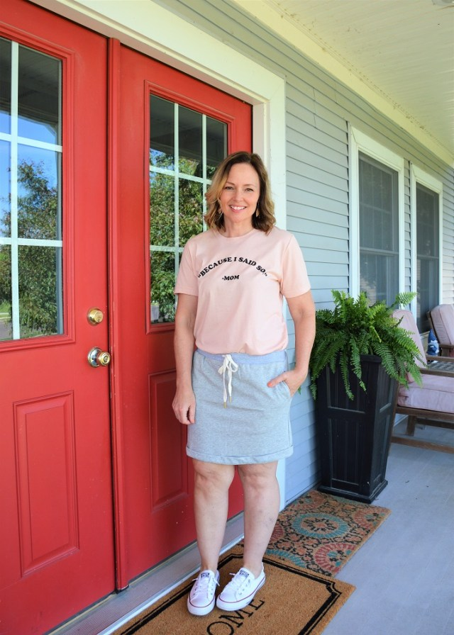 Because I Said So mom tee with sweatshirt material skirt with pockets; from Jeffrey Alans boutique in Peoria, IL
