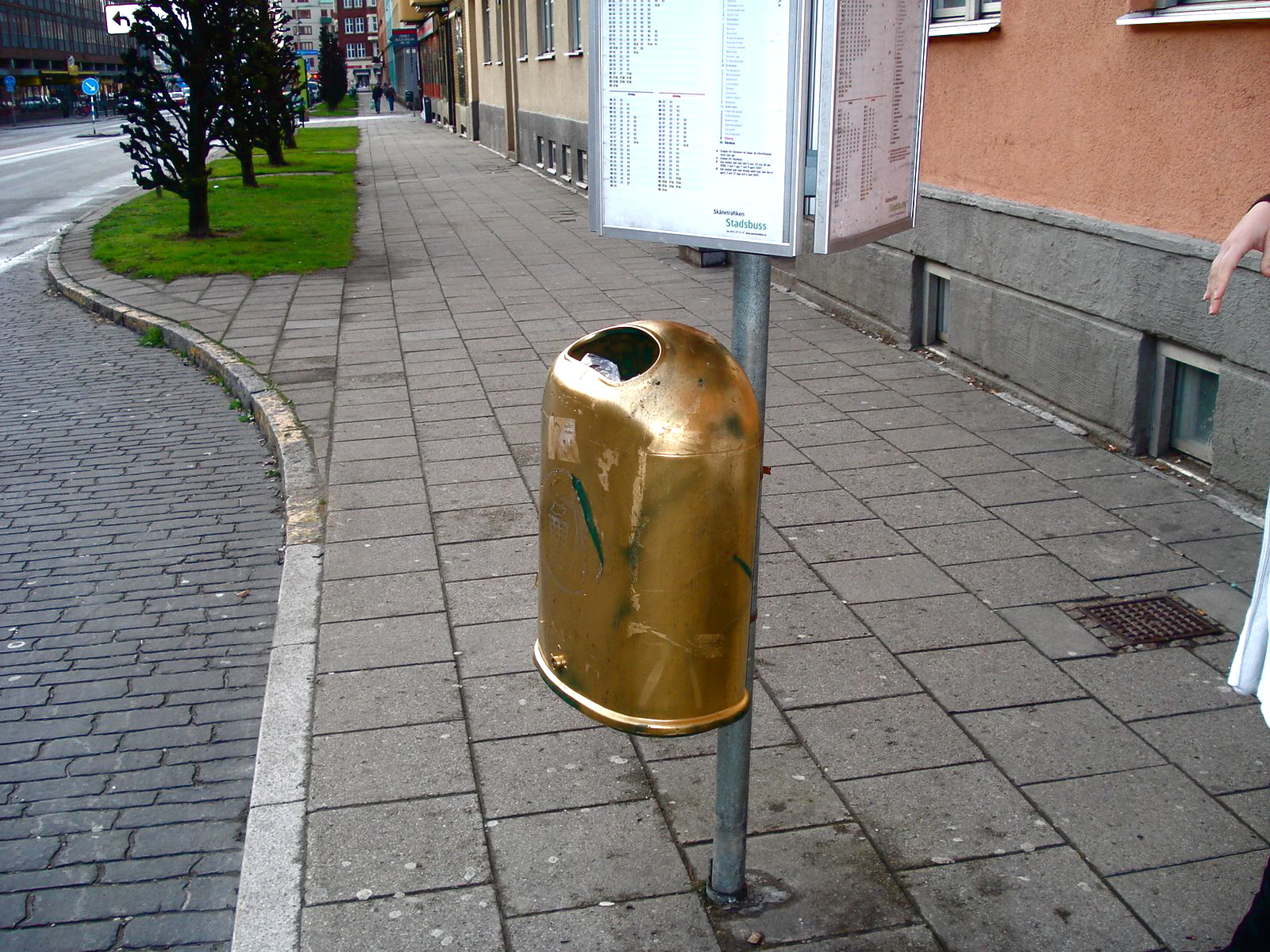 Decorative dumpster at bus stop, Malmö