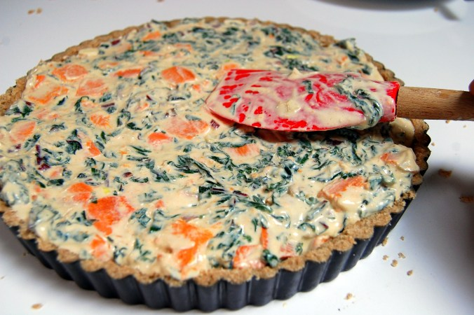 Vegan Swiss Chard & Yam (sweet potato) Quiche