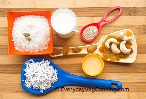 Ingredients for stuffing _ Fried Modaks