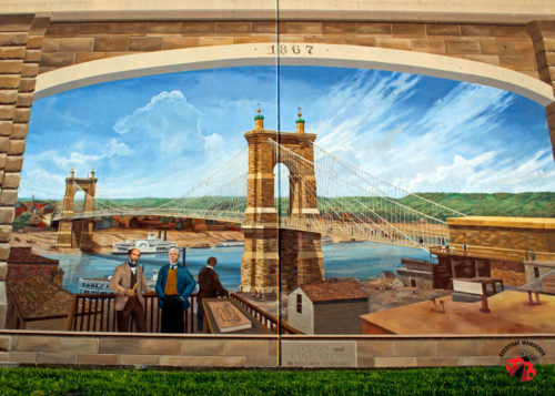 Roebling mural of the bridge in Kentucky