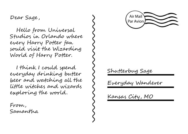 Postcard from Harry Potter World at Universal Studios