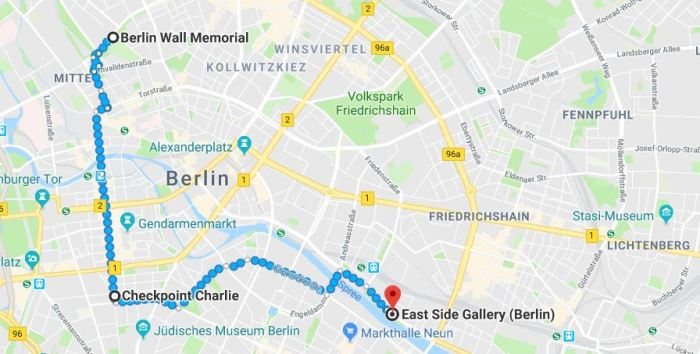 Recommended itinerary for exploring the Berlin Wall in Berlin, Germany