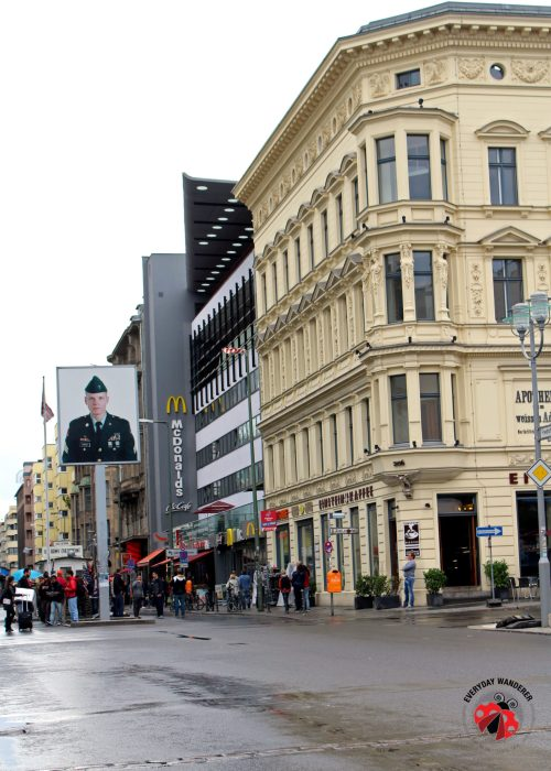 Looking back at Checkpoint Charlie from former East Berlin