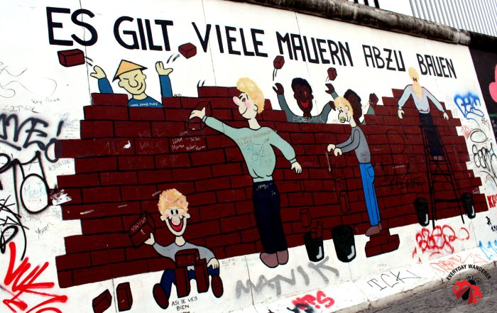 A mural at the East Side Gallery on a section of the Berlin Wall