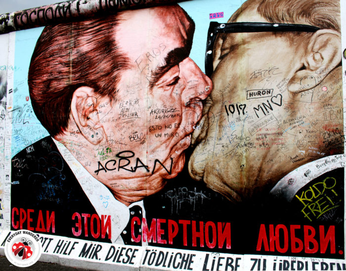 One of the most famous murals at the East Side Gallery in Berlin, Germany