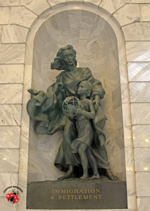 This bronze statue in a niche at the Utah State Capitol supports immigration and settlement.