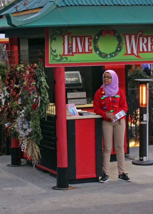Worlds of Fun worker with a holiday light up necklace