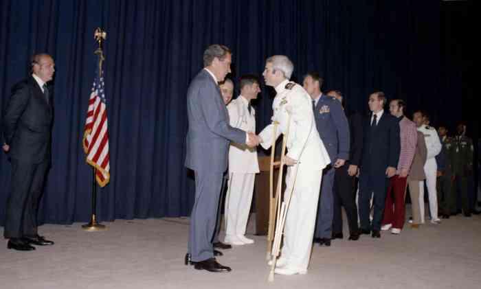President Richard Nixon and recently released POW John McCain - Photo Courtesy of the Nixon Library